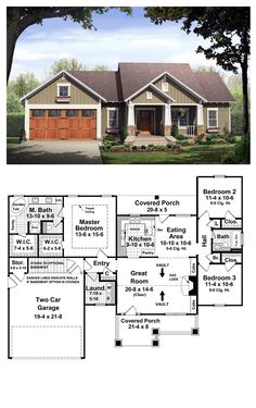 Bungalow Style COOL House Plan ID: chp-37252 | Total Living Area: 1509 sq. ft., 3 bedrooms & 2 bathrooms. This home provides a very functional split-floor plan layout with many of the features that your family desires. Expansive master bedroom / bath with trayed ceiling and plenty of storage space in the his and her walk-in closets. Large great room with vaulted ceiling and gas log fireplace. #bungalow #houseplan