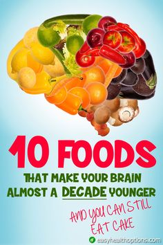 THE MIND DIET RESEARCH: Many researchers believe that some loss of your brainpower is inevitable as you age. But eating the right foods can turn back the clock and make your brain act like it's almost a decade younger. Brain Nutrition, Health And Nutrition, Health And Wellness, Health Tips, Women's Health, Mental Health, Health Care, Healthy Brain, Healthy Aging