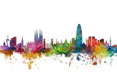 Barcelona Spain Skyline Digital Art by Michael Tompsett
