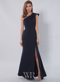 Kamilla One Shoulder Dress. Stunning full length dress by Samantha Rose. A one shoulder style featuring frill detailing on the shoulder and a subtle leg slit. A great style for Bridesmaids, Wedding Guests, Formals and Black Tie events. This Dress is a small make, expecially around the Bust, so please be cautious of this when ordering. Available in Navy, Red & Dusty Rose.