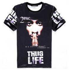 c4826ac2ad1cd tupac t shirt tee shirts short sleeve crew neck thug life summer clothing  tops Hip hop men tops plus size