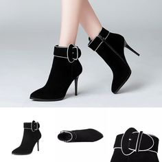Boots - Black Buckle Charming Ankle Boots @shoesofexception #trendy #stylish #dapper #boots