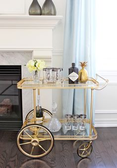 AM Dolce Vita: Vintage Bar Cart Styling, silver-rimmed numbered Tom Collins highball glasses, mid century mod silver rim glasses, vintage barware