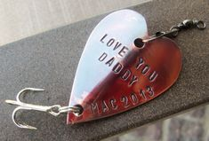Personalized Christmas Gift for Men Fishing Lure Engraved Wedding Christmas Gift Idea For Dad Handstamped Heart For Him Husband Father Daddy