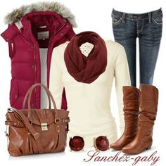 Puffy Vest, Winter Outfits, Casual Outfit - love that cranberry vest! Style Work, Mode Style, Fall Winter Outfits, Autumn Winter Fashion, Casual Winter, Winter White, Christmas Outfits, Christmas Time, Cute Fashion