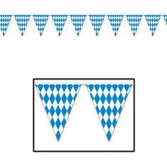 OKTOBERFEST GERMAN BEER FESTIVAL PARTY BUNTING PENNANT bavarian flag blue white