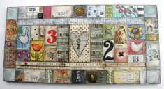 mixed media on wood, using gridwork with found objects, paints & papers. lisa krauss