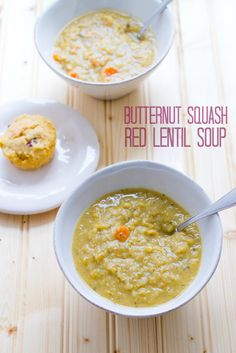 Butternut Squash and Red Lentil Soup -- This creamy yet healthy soup comes together quickly and makes for a comforting fall weeknight meal. Vegetarian Soup, Healthy Soup, Healthy Eating, Healthy Foods, Vegan Soups, Clean Eating, Lentil Recipes, Soup Recipes, Cooking Recipes