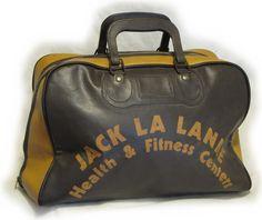 VINTAGE 1960's VINYL GYM BAG branded by JACK LA LANNE FITNESS CENTERS - NITRO's VINTAGE and UNUSUAL CURIOS - NVUC.com