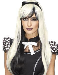 Perruque longue noire et blanche avec bandeau