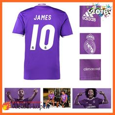 Uitverkoop Real Madrid JAMES 10 Uitshirt Purper 2016 2017 Fanshop Nederland