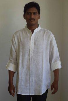 d6881c4790b Mens Nehru kraag korte shirt Kurta in linnen. Short Shirts