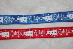 Items similar to 4 yards Blue Red White CHEER Megaphone shiny baby headband DIY Hair Ties FOE stretch foldover fold over elastic on Etsy Cheer Megaphone, Hair Ties, Red And White, Personalized Items, Trending Outfits, Handmade Gifts, Blue, Etsy, Vintage