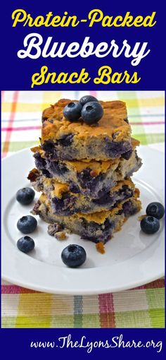 Protein-Packed Blueberry Snack Bars! Plus a video on the health benefits of blueberries! from The Lyons' Share Wellness #protein #snack #healthysnack