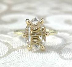Large Herkimer Diamond Engagement Ring - Quartz Crystal - Large Stone Ring - Raw Crystal Ring - Rough Stone Ring - Boho Engagement Ring Crystal Ring, Crystal Earrings, Quartz Crystal, Crystal Diamond, Diamond Quartz, Herkimer Diamond, Boho Engagement Ring, Diamond Engagement Rings, Boho Rings