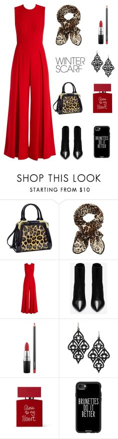 """""""leopard scarf"""" by im-karla-with-a-k ❤ liked on Polyvore featuring Dasein, Emilia Wickstead, Yves Saint Laurent, MAC Cosmetics, Bella Freud, Casetify and winterscarf"""