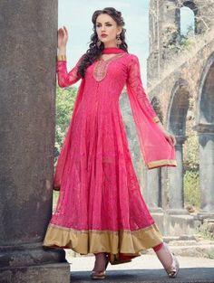 Pink Net Anarkali Suit with Mirror Work