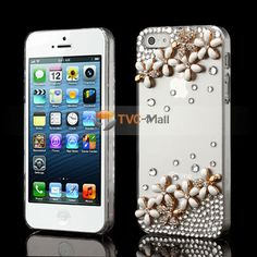 White Pretty Flower Sparkling Diamante Crystal Case Cover for iPhone 5  #cute #cheap #bestdeal #iphone5
