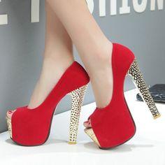 Shoespie Chic Peep Toe Platform Heels