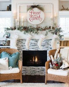 18 Christmas Mantel Decorating Ideas {home decor} - Love the cable knit sweater repurpose.