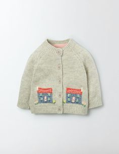 Farmyard Crochet Cardigan (Sea Foam/Birds)