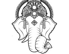sketches elephant images black and white - Google Search