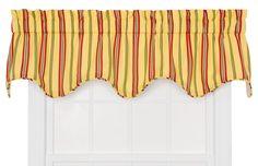 Warwick Medium Scale Stripe Lined Scallop Curtain Valance