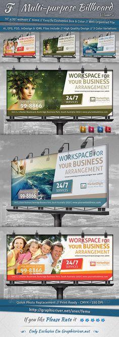 Multi-purpose Billboard Template #design Download: http://graphicriver.net/item/multipurpose-billboard-volume-2/6924150?ref=ksioks