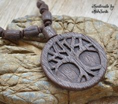 Tree necklace Brown necklace Tree jewelry Brown jewelry Tree of life Boho necklace Boho pendant Boho jewelry Polymer clay jewelry .hba by HandmadeByAleksanta on Etsy