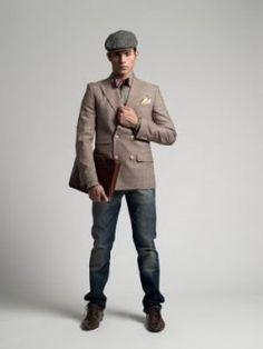 cap suit jeans men's fashion