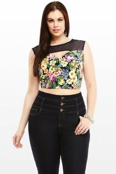 Sophia Floral Plus Size Crop Top I NEED THIS