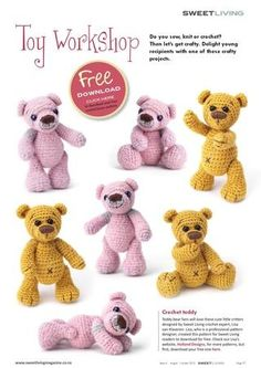 Cute crochet bear (link to pdf pattern).