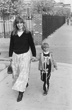 A young trick-or-treater near W. Armitage and N. Halsted St. in Chicago, October 1987. Photograph by Jay King.  ICHi-65903 #Halloween #Chicago #Kids #Skeleton