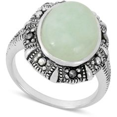 Genevieve & Grace Sterling Silver Ring, Green Jade (5-5/8 ct. t.w.) and Marcasite Oval Ring ($44) found on Polyvore