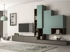 Sectional lacquered TV wall system SLIM 87 by Dall'Agnese design Imago Design, Massimo Rosa: