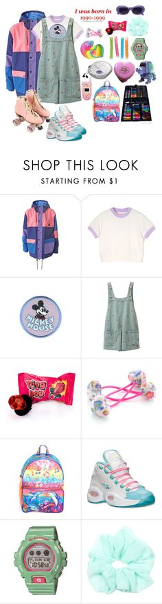"""""""Kid in the 90s"""" by aby-ocampo ❤ liked on Polyvore featuring Lazy Oaf, Disney, Samsung, Monsoon, Lisa Frank, Reebok and G-Shock"""