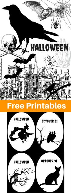 Free Halloween Printables new for 2017. Grab your printable, no need to opt-in or join a membership. Completely free. Put them in black frames and use them with your Halloween decor.