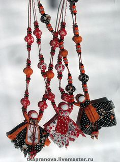 """Buy Decorative beads with """"Veps"""" doll. Fabric Beads, Fabric Jewelry, Diy Home Crafts, Arts And Crafts, Scrap Fabric Projects, Decorative Beads, Art Textile, Matryoshka Doll, Bijoux Diy"""