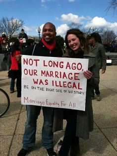 Hear hear! How can one not see that disallowing two people to marry because of their respective body parts, is just another version of the stupidity that once existed around mixed race marriage. As a people, we will one day look back on this with shame!