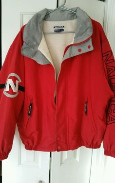 Vintage 90's NAUTICA Competition Jacket L Large Sailing Full Zip Red Neon  #Nautica #BasicJacket