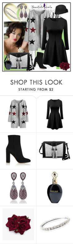 """""""Beautifulhalo.com"""" by lip-balm ❤ liked on Polyvore featuring Kate Spade, Gianvito Rossi, Carianne Moore, Roberto Cavalli, women's clothing, women's fashion, women, female, woman and misses"""