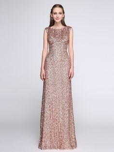 2017 Lanting Bride® Floor-length Sequined Sparkle & Shine Bridesmaid Dress - Scoop with Sequins - USD $69.99