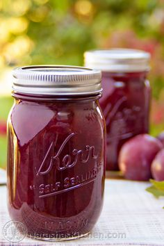 This two-ingredient plum jam recipe is really a cross between plum jam and plum preserves. It's awesome paired with breakfast pancakes or crepes. No Pectin no peel Plum Jam Recipes, Jelly Recipes, Fruit Recipes, Plum Recipes No Sugar, Italian Plum Jam Recipe, Low Sugar Plum Jam Recipe, Plum Preserves, Jam And Jelly, Plum Jelly