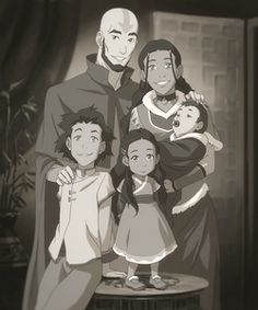 The Legend of Korra/ avatar the Last Airbender: Aang and Katara with their children, Bumi, Kya, and Tenzin, when they were little. ALL THE FEELS! Avatar Aang, Avatar Airbender, Team Avatar, Zuko And Katara, Avatar Funny, Ang And Katara, Avatar Legend Of Aang, Avatar Cartoon, Got Anime