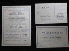 Vintage Wedding Invitation - Postcard RSVP. $4.75, via Etsy.