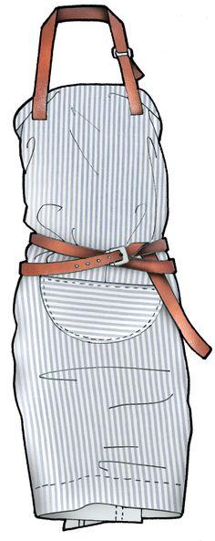 Butcher apron dress. Jaa design original fashion illustration.