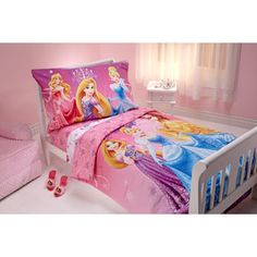 Disney Sparkle Like a Princess 4-Piece Toddler Bedding Set - This would be so cute for Caitlin's room!