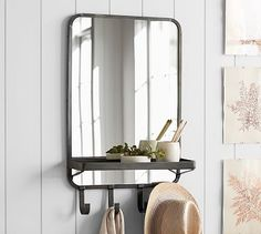 Antique Bronze Wall-Mounted Vertical Mirror | Pottery Barn #mypotterybarn