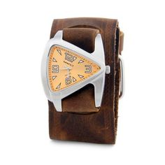 Nemesis Women's BHST024N Triangle Orange Triangle Brown Leather Cuff Band Watch Nemesis. $45.00