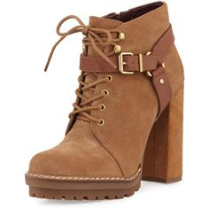 Bcbgeneration Henrik Lace-Up Suede Platform Bootie (255 BRL) ❤ liked on Polyvore featuring shoes, boots, ankle booties, brown, brown lace up booties, brown ankle boots, short brown boots, lace up booties and lace up platform booties